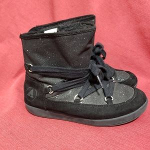 AIR WALK shiny Black Girl boots Lace 2